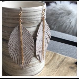 Free People Leather Fringe Gold Leaf Earrings